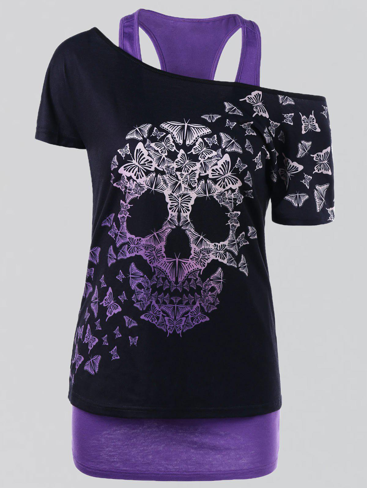 Plus Size Butterfly Skull T-shirt with Tank Top - PURPLE 3XL