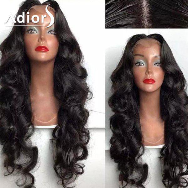 Adiors Dyed Perm Center Part Shaggy Long Body Wave Lace Front Synthetic Wig adior 180 density centre part long body wave lace front synthetic wig
