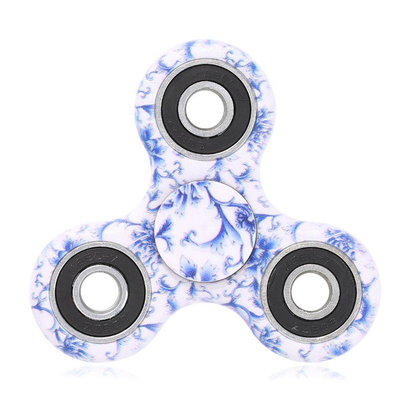 Plastic Tri-bar Mandala Patterned Fidget Spinner - BLUE