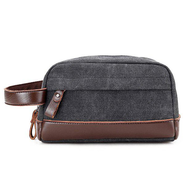 PU Leather Insert Canvas Clutch Bag - BLACK
