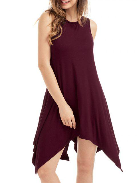 2018 Asymmetrical Pockets Sleeveless Dress Wine Red M In Casual