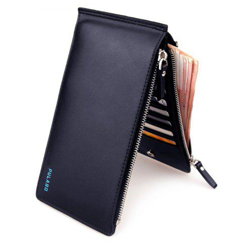 Bi Fold Faux Leather Organizer Wallet - DEEP BLUE
