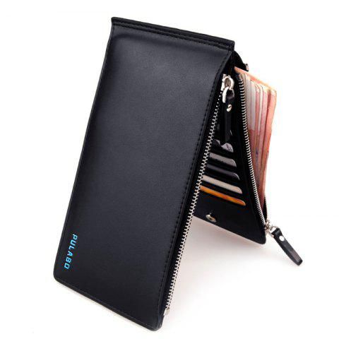 Bi Fold Faux Leather Organizer Wallet - BLACK
