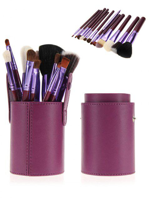 12Pcs Multifunction Portable Makeup Brushes and Bucket - PURPLE