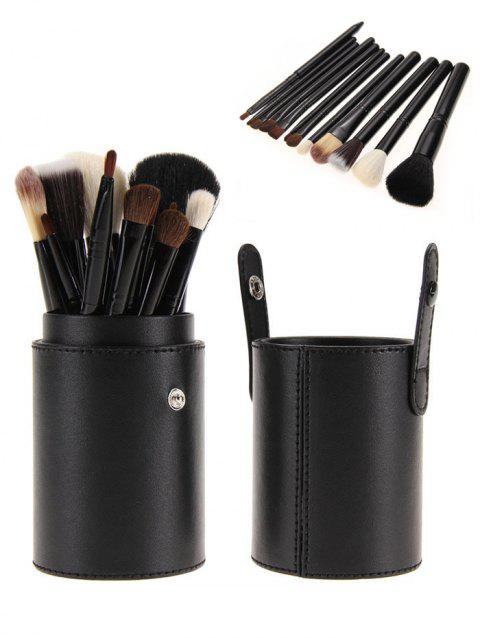 12Pcs Multifunction Portable Makeup Brushes and Bucket - BLACK