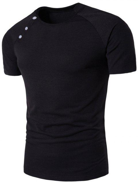 Stand Collar Raglan Sleeve Button Design T-shirt - BLACK 2XL