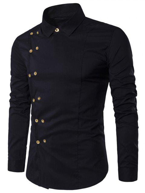 Turndown Collar Long Sleeve Double Breasted Shirt - BLACK L