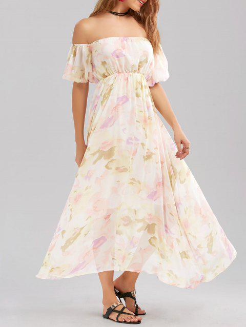 Chiffon Floral Off The Shoulder Prom Dress - WHITE M