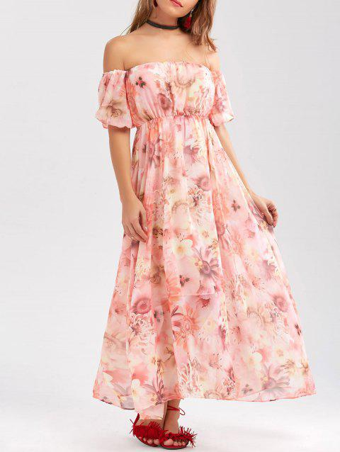 Chiffon Floral Off The Shoulder Prom Dress - PINK M