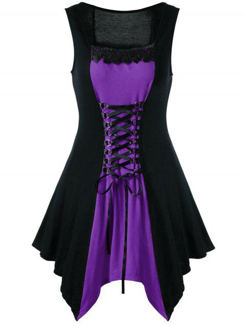 Lace-up Color Block Sleeveless Asymmetrical Dress - PURPLE XL