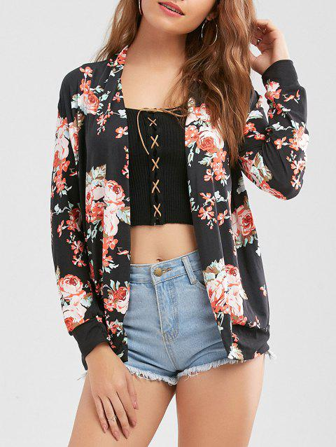 Long Sleeve Floral Cardigan - BLACK 2XL
