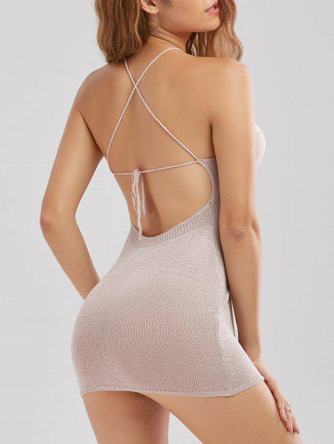 Knit Sheer Backless Criss Cross Mini Dress - SHALLOW PINK ONE SIZE