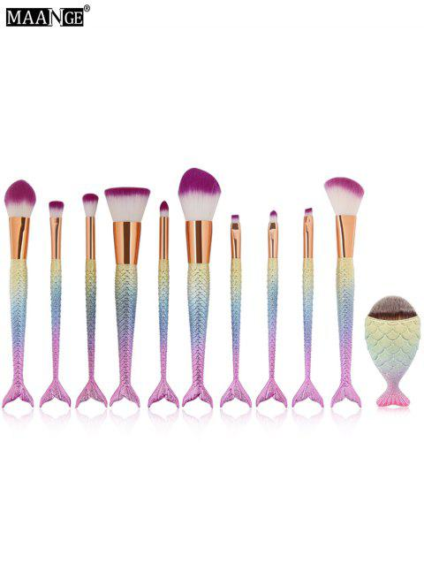 MAANGE 11Pcs Mermaid Makeup Brushes and Foundation Brush - SHALLOW PINK