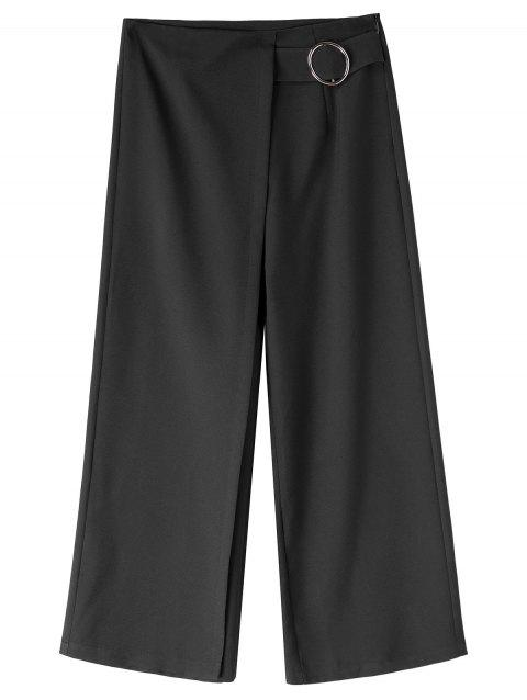 Wide Leg Plus Size Capri Gaucho Pants - BLACK 3XL