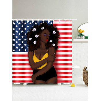 Delightful ... Afro Hair Girl American Flag Pattern Patriotic Shower Curtain    COLORMIX W71 INCH * L79 INCH ...