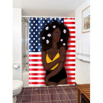 ... Afro Hair Girl American Flag Pattern Patriotic Shower Curtain    COLORMIX W71 INCH * L79 INCH