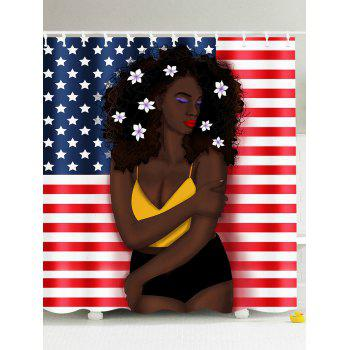 Afro Hair Girl American Flag Pattern Patriotic Shower Curtain
