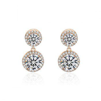 Rhinestoned Double Round Dangle Earrings