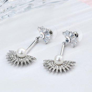 Faux Pearl Rhinestone Fan Shaped Bar Earrings
