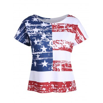 Backless Distressed American Flag Print T-Shirt