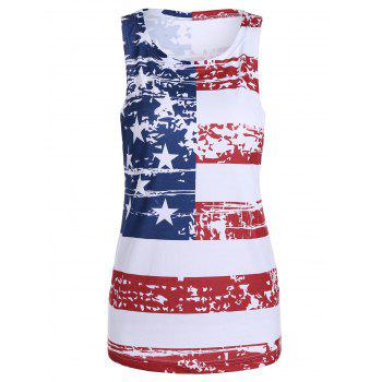 Casual Distressed American Flag Tank Top