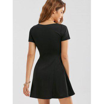 Zippered Fit and Flare Mini Dress - M M