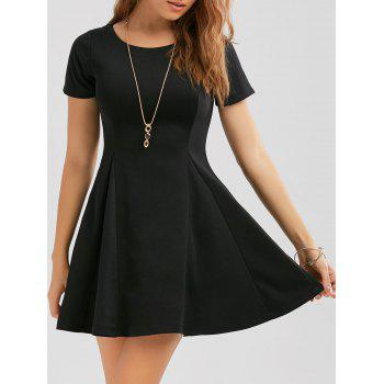 Zippered Fit and Flare Mini Dress - BLACK M