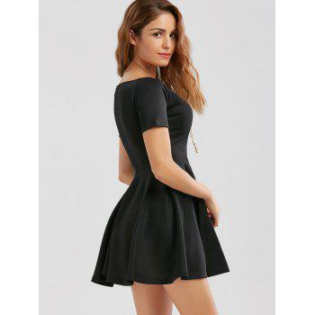 V Neck Mini Skater Dress - S S