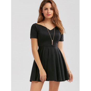 V Neck Mini Skater Dress - BLACK BLACK