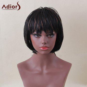 Adiors Short Bob Full Bang Colormix Micro Braids Straight Synthetic Wig