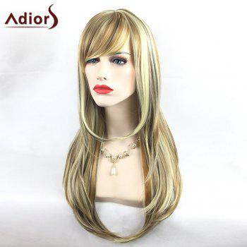 Adiors Colormix Long Oblique Bang Silky Straight Tail Adduction Highlight Synthetic Wig