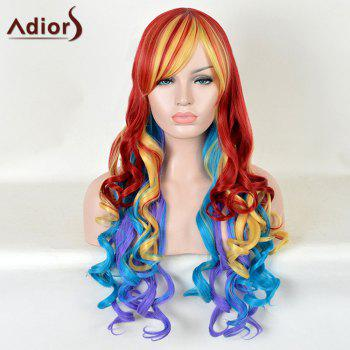 Adiors Long Side Bang Curly Rainbow Colormix Cosplay Synthetic Wig