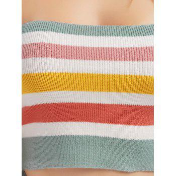 Colorful Striped Off The Shoulder Knit Crop Top - S S