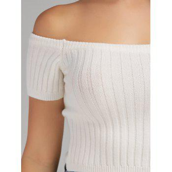 Off The Shoulder Ribbed Knit Crop Top - WHITE S