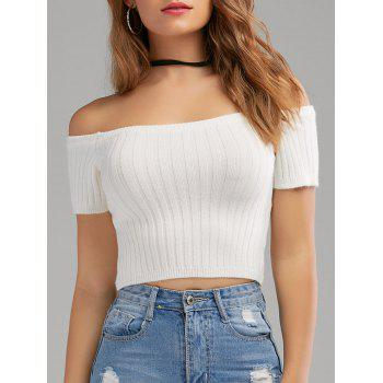 Off The Shoulder Ribbed Knit Crop Top - WHITE WHITE