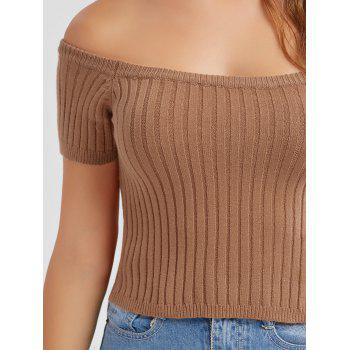Off The Shoulder Ribbed Knit Crop Top - S S