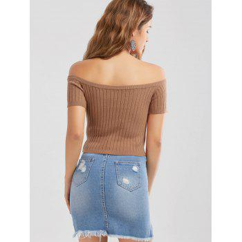 Off The Shoulder Ribbed Knit Crop Top - BROWN BROWN