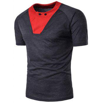 Color Block Panel Raglan Sleeve Button T-shirt