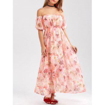 Chiffon Floral Off The Shoulder Prom Dress