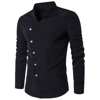 Stand Collar Long Sleeve Oblique Placket Shirt