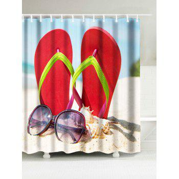 Beach Slipper Sunglasses Print Shower Curtain