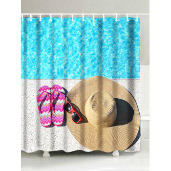 Slippers Straw Hat Sunglasses Print Shower Curtain