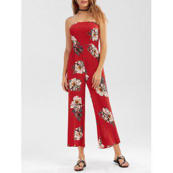High Waist Floral Strapless Jumpsuit