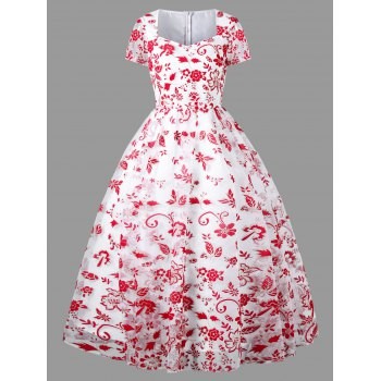 Sweetheart Neck Allover Tulle 50s Swing Dress