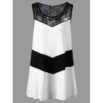 Plus Size Lace Trim Monochrome Sleeveless T-shirt