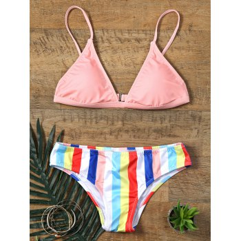 Rainbow Striped Print Skimpy Bikini