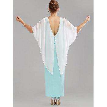 Open Back Cape Style Overlay Maxi Dress