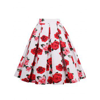 High Waisted Print A Line Skirt