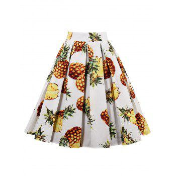 Pineapple Print High Waist Pleated Skirt