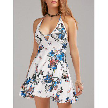 Halter Floral Print Backless Dress